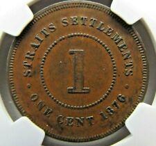 Straits Settlements One Cent 1876 NGC AU 50 BN
