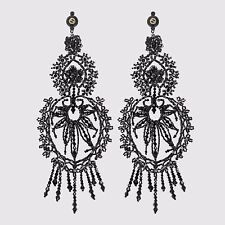 GUCCI Black Chandelier Earring Crystal Shoulder Duster Hand Embroidery ITALY NIB