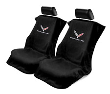 Pair 2 2014-2018 Chevrolet C7 Corvette Black Towel Protector Seat Armour Covers