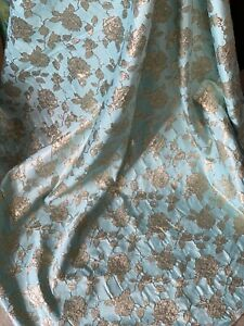 """MINT GOLD CORDED METALIC TWO TONE SOFT BROCADE FABRIC 55"""" WIDE Mtr Price"""