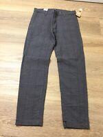 mens levis XX chino pants standard taper stretch gray plaid 33 X 34