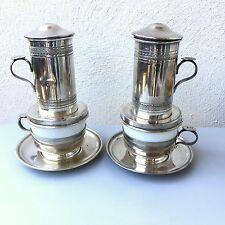 Paire d'anciens filtres à café en métal argenté et porcelaine, cafetière, tasse