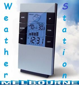 LCD Weather Station Temperature Thermometer Humidity Hygrometer Alarm Clock Rain