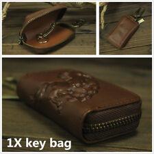 Genuine Leather Car Key Men Key Holder key Keychain Covers Zipper Key Bag-Brown