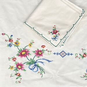 Set of CrossStitch Oval Tablecloth w/ 8 Matching Napkins - Ivory, Floral 66 x 66