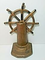 "(2) VTG CAST IRON BOOKENDS~DOORSTOPS ☆ NAUTICLE SHIP HELMS☆6.5""H☆ANTQ BRASS TONE"