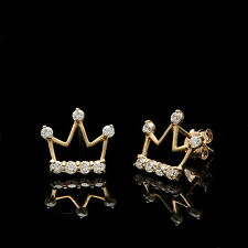 0.20CT Created Diamond Crown Earrings Solid 14K Yellow Gold Studs Round-Cut VVS1