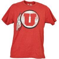 NCAA Utah Utes Tshirt Tee Short Sleeve Crew Neck Mens Adult Big Logo Sports Red