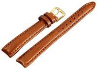 Kunst-Leder Uhren Armband Braun Gold 12 mm Dornschließe Ersatzband X8000345120