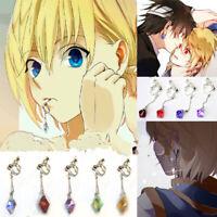 HUNTER×HUNTER Kurapika Killua Zoldyck Cosplay Hook Crystal Earrings Clip Jewelry