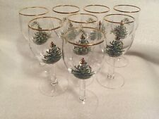 Spode Christmas Tree Wine Water Goblets Glasses Set Of 8 England Gold Rim