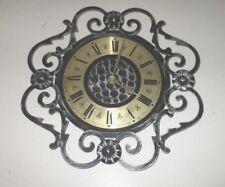 Orologio da parete tipo ferro battuto nero oro numeri romani vintage