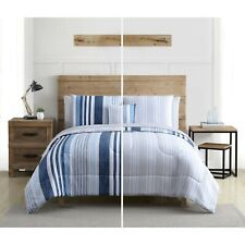 Vcny Striped 6pc Twin Xl Size Comforter Set, Reversible Comforter Bed In A Bag