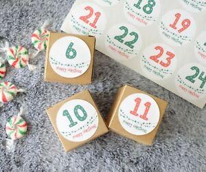 24x Christmas Advent Boxes, XMAS Treat Boxes, Pillow Box, Chocolate Gift Boxes