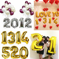 1640goldsilver foil letter number balloons birthday wedding party decoration
