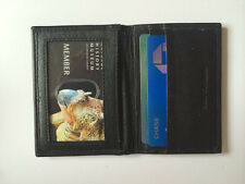 Black Leather Bifold Credit Card Cash Money Slot Window ID Card Holder Wallet