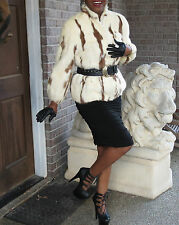 Designer Intarsia white cream brown Mink Fur Coat Jacket stroller bolero S 0-4/6
