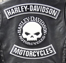 HARLEY DAVIDON WILLIE G  SKULL ROCKERS CHENILLE SET 3pc HARLEY PATCH