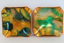 Vintage Set of 2 Square Foil Art Under Glass Dishes Orange Green Gold Patterned