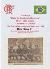 FLAMENGO FC OF BRAZIL 1961-1962 RARE ORIGINAL AUTOGRAPHED PIC 5 X SIGNATURES