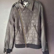 New $815 Size Medium Adidas SLVR Lambskin Slim Fit Leather Biker Jacket