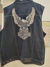Men's Harley-Davidson Black denim vest, NWT size 3x Embroidered Graphics!
