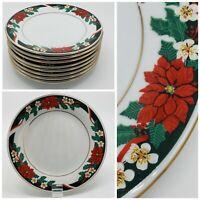 Tienshan Deck the Halls Set of 8 Salad Plates 7 1/2 Poinsettia Holiday Plates