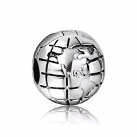 Round Earth New Style 925 Silver European Clip Bead Charms Fit Sterling Bracelet
