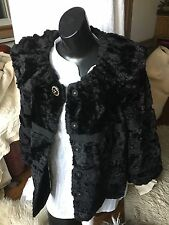 Anthropology Leifsdottir Black Faux Fur jacket/coat size 2 Gorgeous Vegan CHIC!!