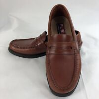 FLS Florsheim Mens Penny Loafers Brown Leather 73198 Slip-On Moc Toe Flat 7.5 M