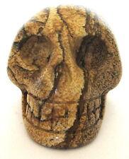 "Picture Jasper Gemstone Skull 35 mm 1.35"" 60 grams Crystal Healing Reiki"