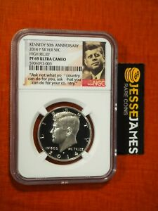 2014 P 50C PROOF SILVER KENNEDY HALF DOLLAR NGC PF69 ULTRA CAMEO HIGH RELIEF