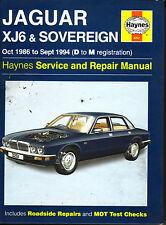 Jaguar  XJ6 & Sovereign Service & Repair  Manual 1986-94  Haynes