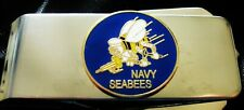 Back Money Clip-Free Engraving Navy Seabees Silver Hinged Locking