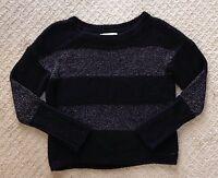 Women's Ann Taylor Loft Black Metallic Striped Boatneck Sweater-Size M
