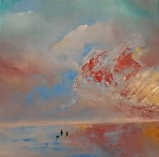 "NEW ORIGINAL ELIZABETH WILLIAMS ""Just Us"" night sky beach sea OIL PAINTING"