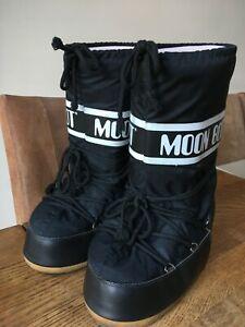 Tecnica Original MOON BOOTS Black Thermal Apres Ski Snow Unisex 42-44, UK 8-9.5