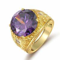 Ring Gr 62 Fingerring Gold gefüllt Herrenring Goldring Siegelring lila grün
