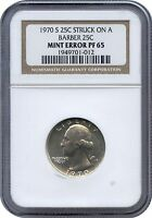 1970-S Proof 25C Struck on a Silver Barber 25C NGC PF 65 - One of Two Known