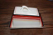True Vintage Slanted Cheese Dish Japan pottery striped modern Butter Lid handle