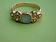 ESTATE14 KT YELLOW  GOLD & PEARL INSETS WITH CENTER OPAL RING  - 5 3/4