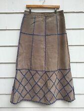 Womens Gray Suede Leather Blue Crochet A Line Patchwork Skirt 70s Romantic Sz 14