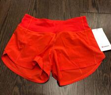 """NWT Lululemon Size 6 Speed Up MR Short 4"""" *Lined Deep Orange Red CRNR"""