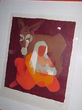 Lithographie - Toffoli Louis - Maternité à l'âne - 1963