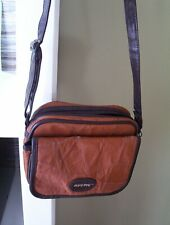 Vintage ? Rustic Camera Bag Leather 8x6x3 Brown With Strap 3 Compartments Nice