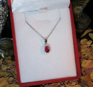 RARE! Refined genuine natural Untreated Ruby 4x6mm oval facet silver pendant 🍒