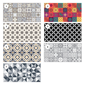 120cm Vinyl Floor Mat Rug Tile Mosaic Pattern Non Slip Easy Clean Home Decor