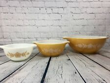 LOT OF 3 VINTAGE PYREX BUTTERFLY GOLD MIXING BOWLS