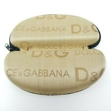 Dolce & Gabbana D&G Sunglasses Eyeglasses Hard Case All over Logo Gold Tan Zip
