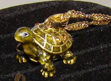 "Box TURTLE Bejeweled Baked Enamel Necklace (18"" Gold Tone Chain)"